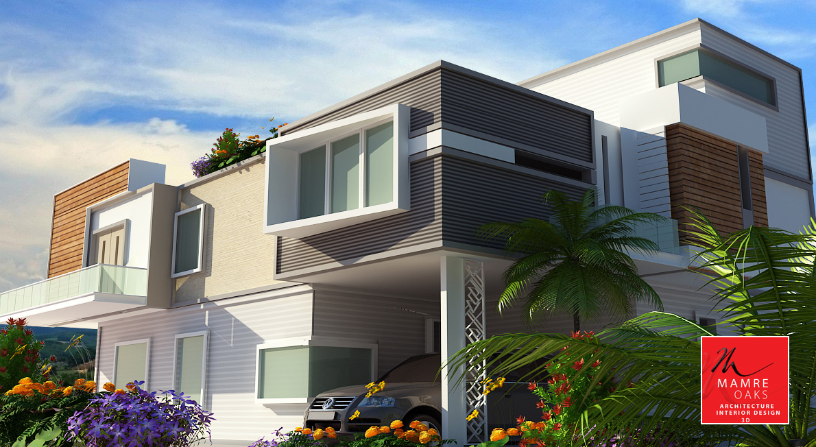 Advantages of contemporary elevations mamre oaks 3d for Architecture design companies in coimbatore